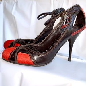 BCBGMAXAZRIA CALDEA LEATHER & PONY HAIR PUMP SZ 6